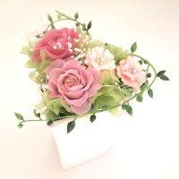 【送料・消費税込み】Pink Heat~ピンクハート~クリアケース付プリザーブドフラワーアレンジ/クールピンク