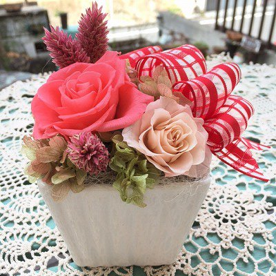<ホットピンク>チェックリボンスクエアアレンジ☆高さ16cmケース付【送料・消費税込】お花 プリザーブドフラワー プレゼント ギフト お誕生日 お祝い アークロスマルシェ