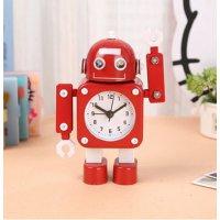 【かわいいと評判の】ロボット型目覚まし時計 インテリアやプレゼントにも(こぶし状タイプ レッド)