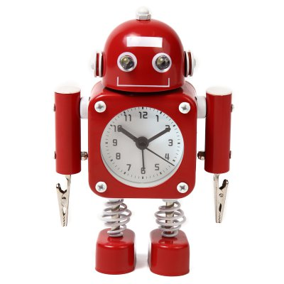 【かわいいと評判の】ロボット型目覚まし時計 インテリアやプレゼントにも(クリップタイプ レッド)