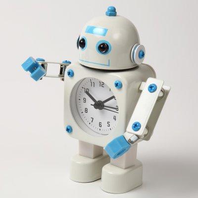 【かわいいと評判の】ロボット型目覚まし時計 インテリアやプレゼントにも(こぶし状タイプ ホワイト)の画像1