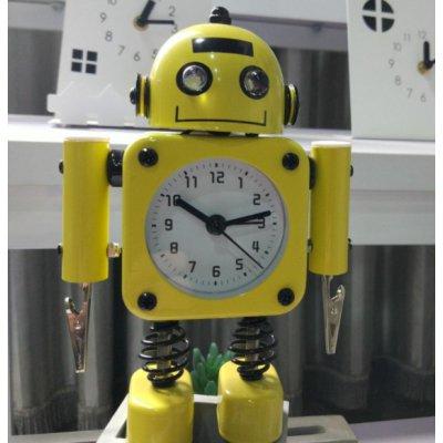 【かわいいと評判の】ロボット型目覚まし時計 インテリアやプレゼントにも(クリップタイプ イエロー)の画像1