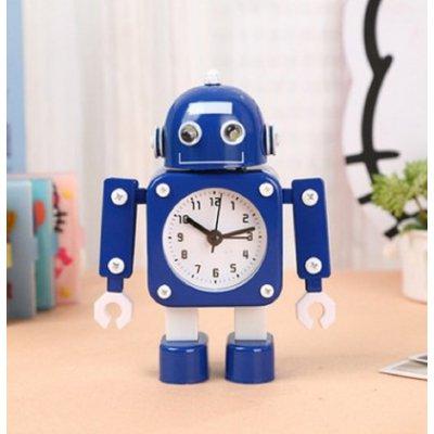 【かわいいと評判の】ロボット型目覚まし時計 インテリアやプレゼントにも(こぶし状タイプ ブルー )