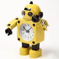【かわいいと評判の】ロボット型目覚まし時計 インテリアやプレゼントにも(こぶし状タイプ イエロー)