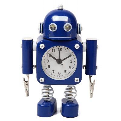 【かわいいと評判の】ロボット型目覚まし時計 インテリアやプレゼントにも(クリップタイプ ブルー)