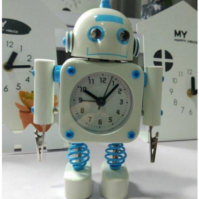 【かわいいと評判の】ロボット型目覚まし時計 インテリアやプレゼントにも(クリップタイプ ホワイト)の画像1