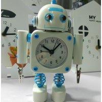 【かわいいと評判の】ロボット型目覚まし時計 インテリアやプレゼントにも(クリップタイプ ホワイト)
