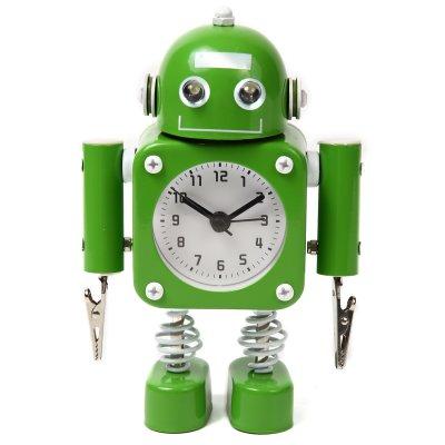 【かわいいと評判の】ロボット型目覚まし時計 インテリアやプレゼントにも(クリップタイプ グリーン)の画像1