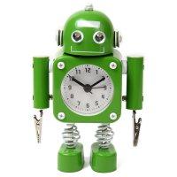 【かわいいと評判の】ロボット型目覚まし時計 インテリアやプレゼントにも(クリップタイプ グリーン)