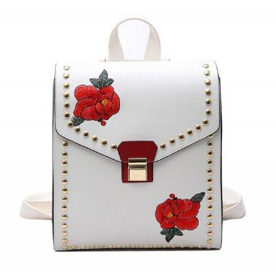 【2色からお選びください】花柄刺繍のレザースクエアリュックサック