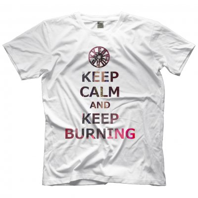KEEP BURNING TEE WHITE サイズMの画像1