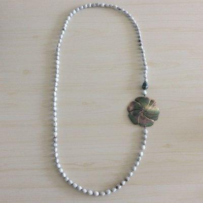 【タヒチから輸入♡】黒蝶貝のシェルと黒真珠のネックレス ¥7500