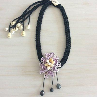 【タヒチから輸入♡】黒蝶貝のシェルと黒真珠のネックレス ¥8600