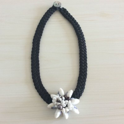 【タヒチから輸入♡】黒蝶貝のシェルと黒真珠のネックレス ¥4500