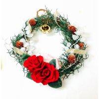 レッドローズのミニクリスマスリース