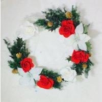 レッドとホワイトローズのクリスマスリース