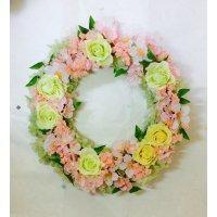 桜とバラの春リース