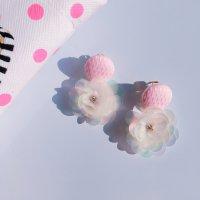 Pinkボタン♡フラワーピアス (Sp,Sum)