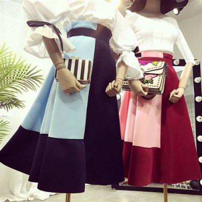 人気☆ハイウエスト☆切り替えミディアムロングラインスカート (Sp,Sum,Wi)