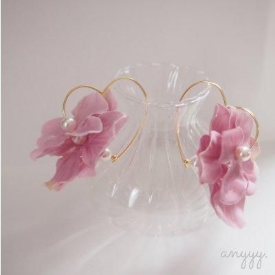 flower heart hoops《フラワーハートピアス》