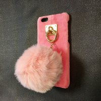 iPone6&6s対応 ケータイケースBIGポンポン(ピンク)