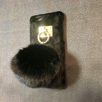 iPone6&6s対応 ケータイケースBIGポンポン(ブラック)