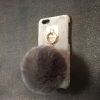 iPone6&6s対応 ケータイケースBIGポンポン(グレイ)
