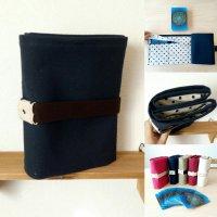 水玉タイプ  紺色 | ボイジャータロット6ポケットケース  【 全5カラー  | アイボリー・レッド・紺色・カーキ・ピンク 】