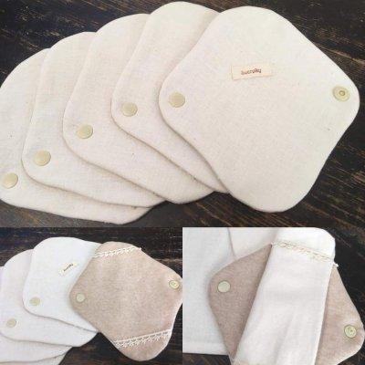オーガニック100%「 布ナプキン 」レギュラーサイズ 吸収体付き  〜 ハンドメイド雑貨の Sucre&y 〜の画像1