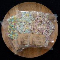 オーガニックコットン「 布ナプキン 」( L )サイズ 花柄  ブルー パープル イエロー 〜 ハンドメイド雑貨の Sucre&y 〜