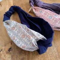 花柄 ブルー おしゃれな「 ヘアターバン 」〜 ハンドメイド雑貨の Sucre&y 〜