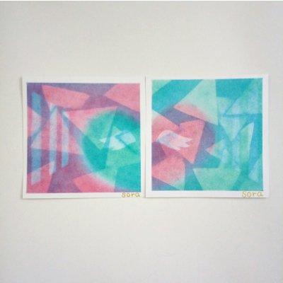 ヒーリングアート「天使ちゃん」パステル画 ラブ 2枚セット 〜 原画・メッセージカード付きの画像1