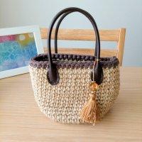 手編み ハンドバック ミニサイズ ハンドメイド 〜 Sucre&y 〜 小物をハンドバックに入れてお散歩!