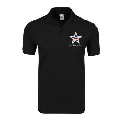 送料無料 UVカット機能 男女兼用 形態安定チャリティポロシャツ 「価値の象徴 スター刺繍デザイン」