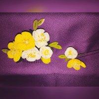 【黄色系2個セット】つまみ細工*お花のコーム*浴衣・着物に!