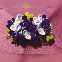 つまみ細工*お花のコーム【紫】*浴衣・着物に!