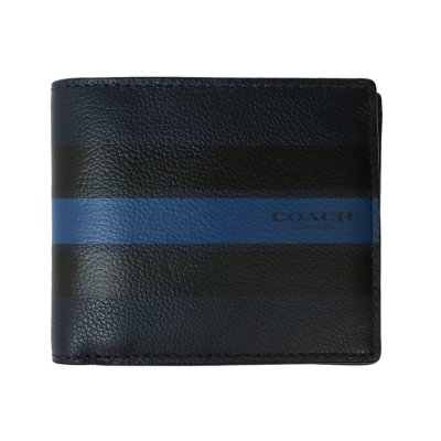 Coach コーチ 折りたたみ財布 CMPCT ID VAR LTHR 紺、青、黒の画像1
