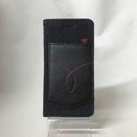 ▪️送料無料▪️iPhone6★対応★ポケット付き♪ブラックデニム手帳型ケース♪ 6-19(BL)