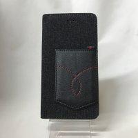 ▪️送料無料▪️iPhone7Plus★対応★ポケット付き♪ブラックデニム手帳型ケース♪