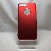 ■送料無料■iPhone7Plus★対応★つや消しアルミ調背面りんご穴カメラ付近シルバーメタリックソフトケース♪