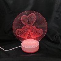 癒しの光で優しく照らす■3D Artナイトライト■レインボーカラーLEDライト■I Love You♥
