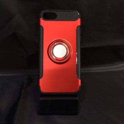 ■送料無料■iPhone7★対応★カーボン風背面リング付きハイブリッドケース♪