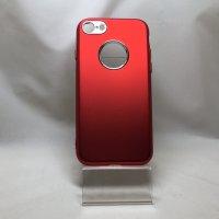 ■送料無料■iPhone7★対応★つや消しアルミ調背面りんご穴カメラ付近シルバーメタリックソフトケース♪