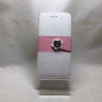 ■送料無料■iPhone6/6s★対応★ベルトの花が目を引く2トーン手帳型ケース♪