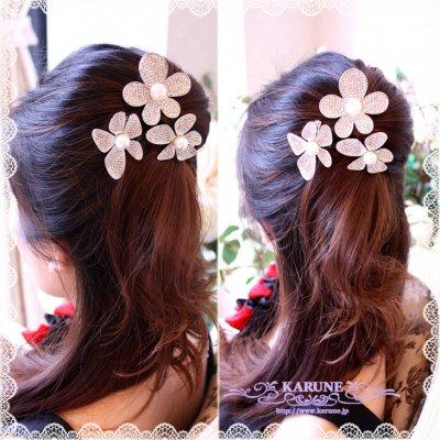 パール付キラキラお花のヘアアクセサリー