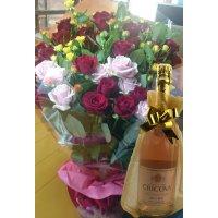 父の日プレゼント バラとスパークリングワイン
