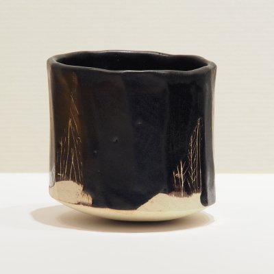 テトツチト 「宵闇 大」 陶器・ローリング焼酎グラス