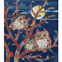 山田圭子 「月夜の梟」 布絵