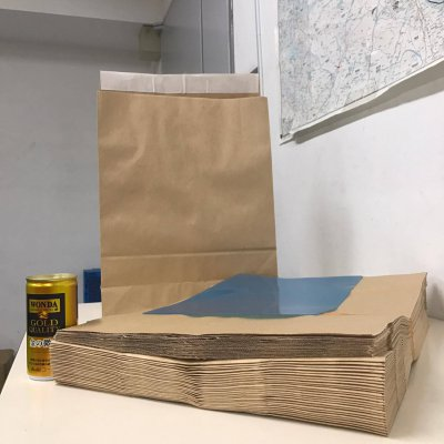 宅配袋【200枚分/1セット分】(茶色/無地/サイズ:高さ400×幅320㎜、マチ110㎜、ベロ48㎜ シール付)
