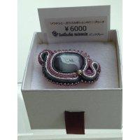 Soutache minmin#003【ガラスカボションのミニブローチ】(ピンクグレー)